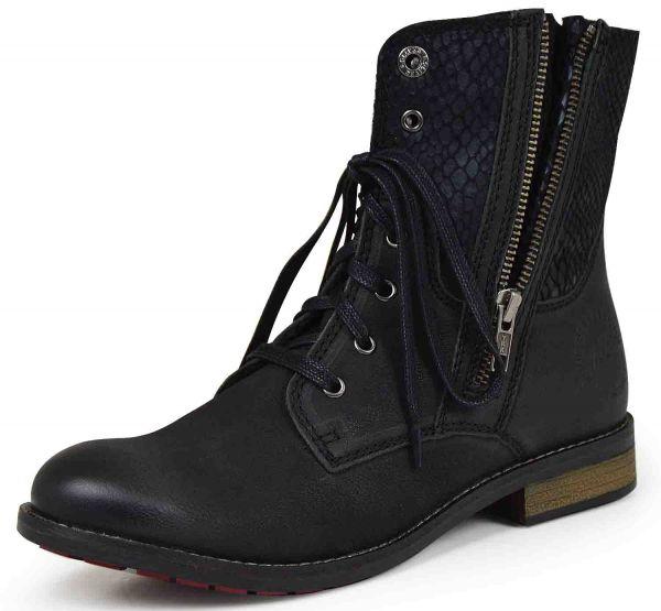 s.Oliver 5-25354-23 Damen Combat Boots schwarz snake