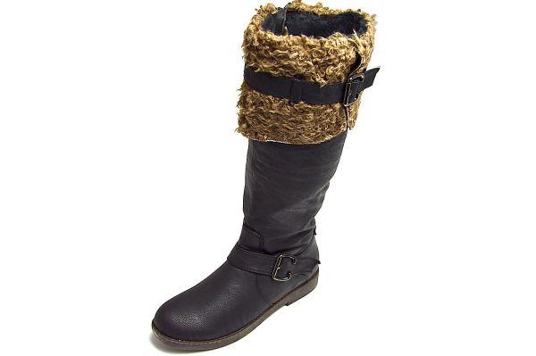 Bole Shoes BLWM0992-3 Damen Langschaftstiefel schwarz