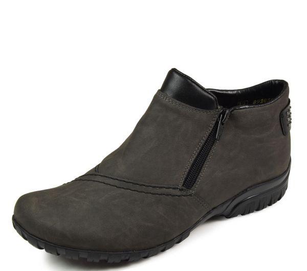 Rieker L4662-45 ANTISTRESS Damen Kurzschaft-Stiefel Wechselfußbett grau kombi