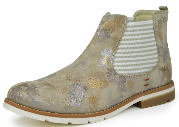 s.Oliver 5-25335-38 soft foam Damen Chelsea Boots nude/ gold flow ( beige )